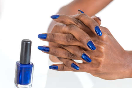 Holiday Nail Art. Luxury blue nail polish on Black african American Nails