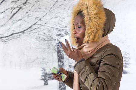 sick african  woman   blowing nose with kleenex,  Flu season, vaccine