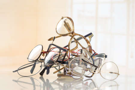third eye: bunch of unneeded glasses  for donation to Third World