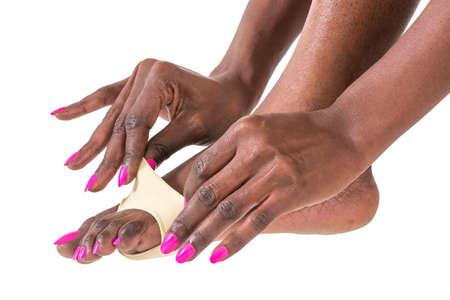 fu�sohle: schwarze Frau Anordnen Fu� Hallux valgus und Fu�sohlenschutz