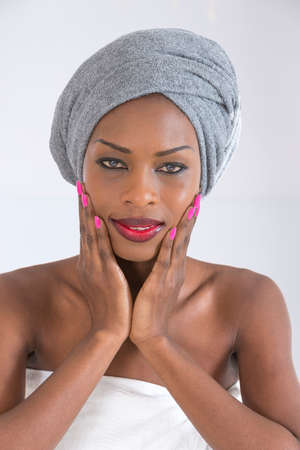 ethnicity: Beauty an studio shot of a beautiful African woman wearing headscarf