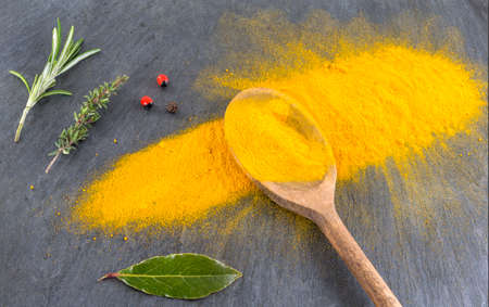 pinch: Yellow curry powder in the wooden spoon, isolated on white background.