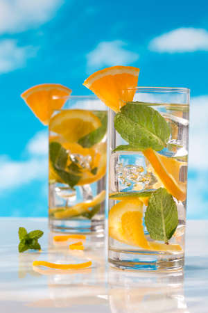 infusing: Summer drinks water with ice, mint and orange
