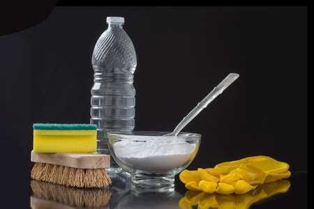 Natural cleaning tools lemon and sodium bicarbonate for house keeping Stock Photo