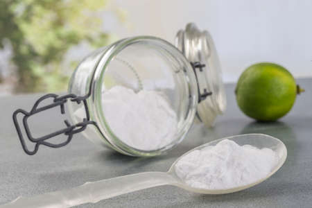 sodium bicarbonate: Natural cleaning tools lemon and sodium bicarbonate for house keeping Stock Photo