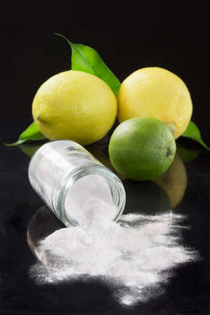 sodium bicarbonate: baking soda sodium bicarbonate Medicinal and household Uses on black bachground