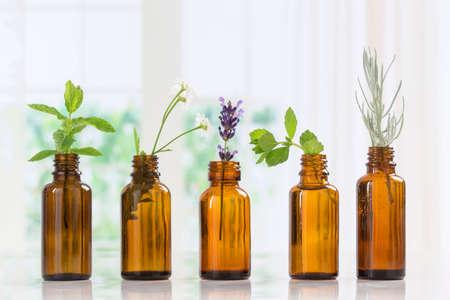 Bottiglia di olio essenziale con erbe e spezie in bottiglie marrone