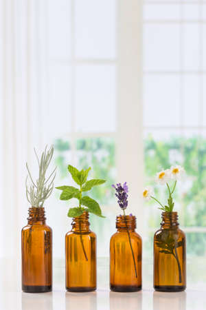 Bottle of essential oil with herbs and spices in brown bottles Stock Photo - 60587262