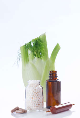 biologically: Declination of a fennel plant part healing herbal medicine Stock Photo