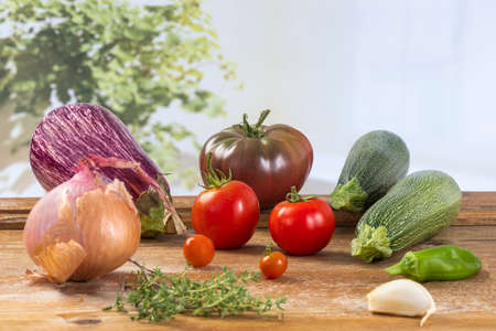 Fresh vegetable ingredients for Ratatouille mediterranean recipe Stock Photo