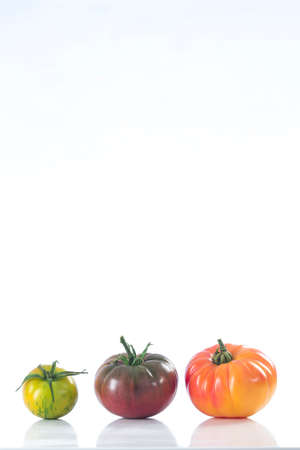heirloom: assorted old variety of tomatoes isolated on white Stock Photo