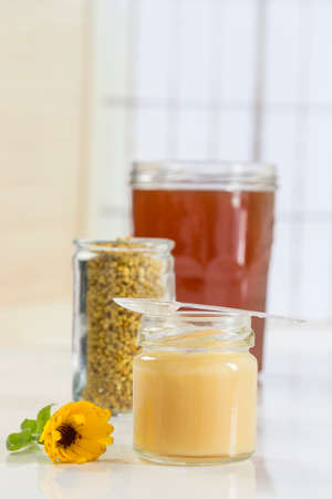 bee pollen with Royal gelly and honey in glass jar Stock Photo