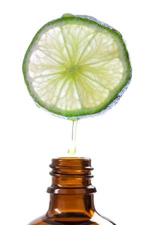 Lemon essence Refreshing aromatherapy on white background Stockfoto