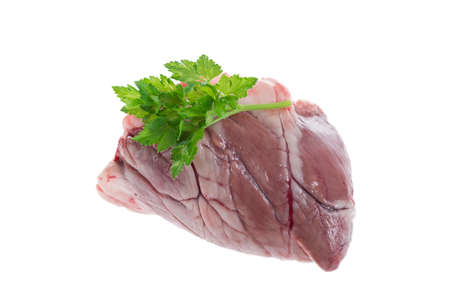 butchered: Raw Lamb heart over a white background