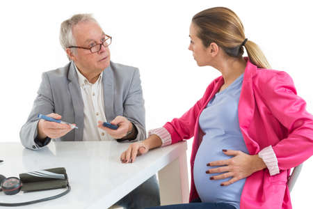 gestational: Diabetes Consult. Pregnant Woman at doctor office