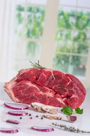Uncooked organic shin of beef meat isolated Stock Photo