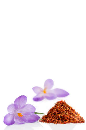 antirheumatic: Flower crocus and dried saffron spice isolated on white background. Stock Photo