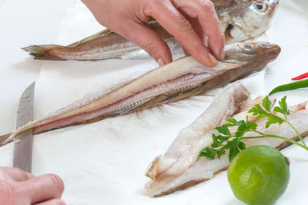 Fresh raw being filleting for recipe on white background Stock Photo