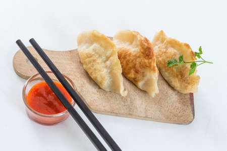Asian Fried dumplings Gyoza, Garnished with Sauce and Parsley