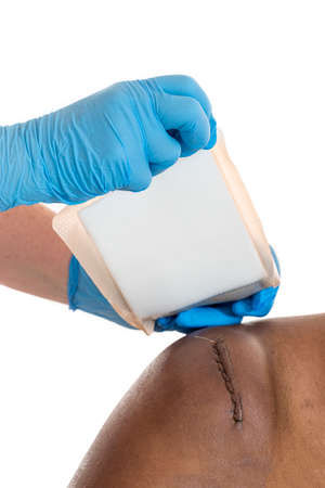sticking-plaster was applied to awound sitched scar