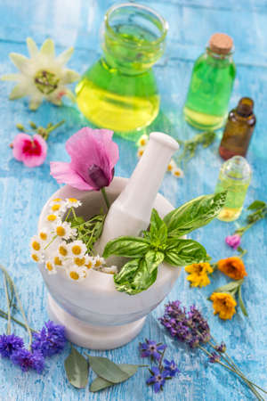 essential oils for aromatherapy treatment with fresh herbs in mortar white background Banco de Imagens