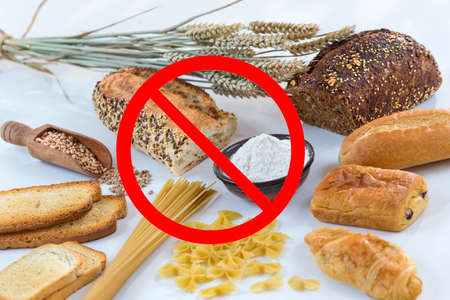 Food non gluten free, with cereals grains with interdiction symbols