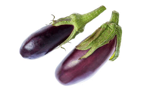Eggplant or aubergine vegetable isolated on white background cutout Imagens