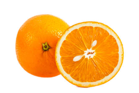 close up whole orange fruit and sliced orange with pips looking to a cat head on white Stock Photo