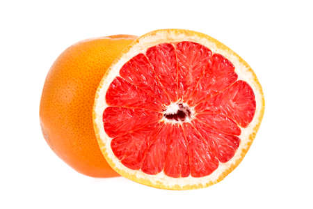 Grapefruit citrus fruit with half grapefruit isolated on white background. Whole grapefruit and half crop
