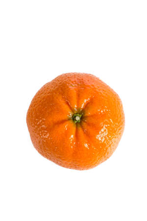 single orange mandarine on white, front view