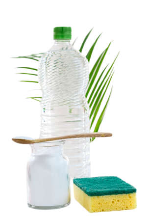Eco-friendly natural cleaners baking soda, lemon and cloth on grean leaf and whithe background,