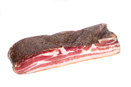 Corsican traditional delicatess smoked piece of pork or boar belly on a white background