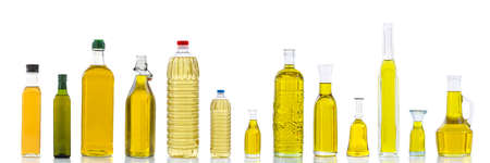 Set of different types of oil for cooking. Group bottles. Isolated on white