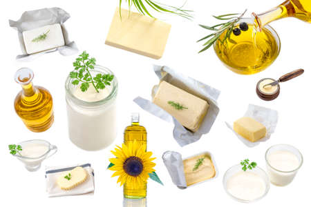 food Fats and oil : set of dairy product and oil and animal fats on a white background Stock Photo