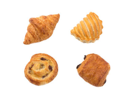 Gourmet Buttery and Flaky pastries in Vienna Style on a Basket Top view with white Background