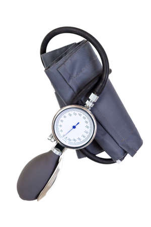 Manual blood pressure sphygmomanometer isolated on white background Foto de archivo