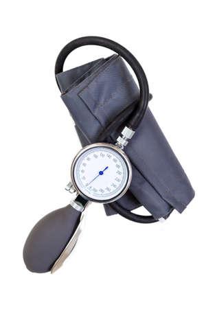 Hand bloeddruk bloeddruk sfygmomanometer geïsoleerd op een witte achtergrond Stockfoto - 94527937