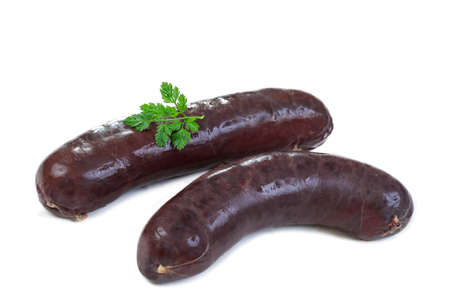French typical black pudding with onion or boudin noir, on white background
