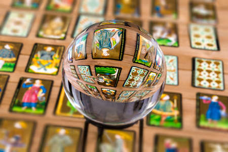 Fortune teller Crystal ball and in transparency tarot cards background . Stok Fotoğraf - 117730051