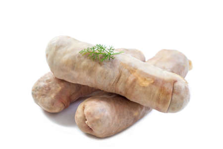 Andouillette: French typical sausage from pork intestine on a white background.