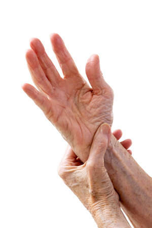 Mature woman feeling wrist pain, injury problem, healthcare concept, sprain.