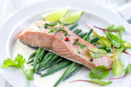 Steamed cooked salmon and vegetables. Lunch, fillets. Banco de Imagens