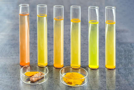 Test tube with mater and curcuma with turmeric powder and turmeric root on slate background 写真素材 - 124986644