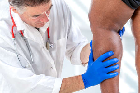 phlebologists examination -Varicose veins on the womans legs close up