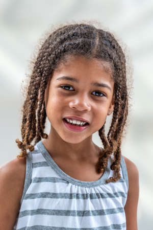 Sensational Little Girl Doing Facial Expressions Face On White Background Natural Hairstyles Runnerswayorg