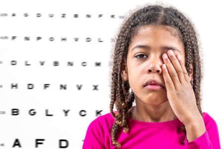 Child girl closing eye, showing size or sign from eye chart, vision diagnostics.