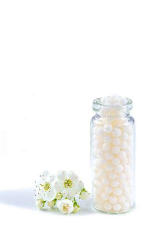 Homeopathy globules in bottles. homeopathy, naturopathy and alternative medicine. Alternative homeopathy Stock Photo