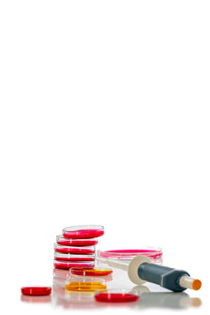 Pipette and petri dish with red liquid.