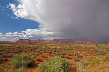 Canyonlands NP mesa with storm moving in Stock Photo