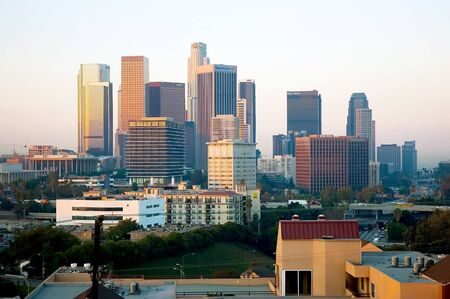 Los Angeles Skyline in the morning Stock Photo